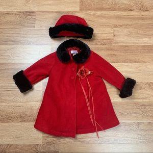 Kid's Dream Red Fleece Baby Girl Pea Coat & Hat